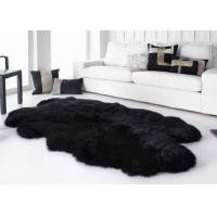 Buy cheap Smooth Surface Black Fur Throw Blanket , Black Extra Large Sheepskin Rug product