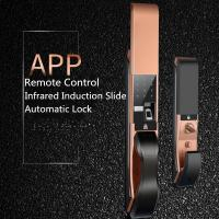 Buy cheap APP Remote Controlled Fingerprint  Door Lock , Infrared Induction Slide Cover Lock product