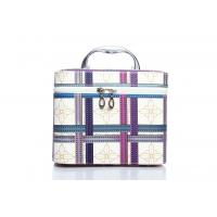 Quality wholesale female pu leather square plaid cosmetic bags for sale