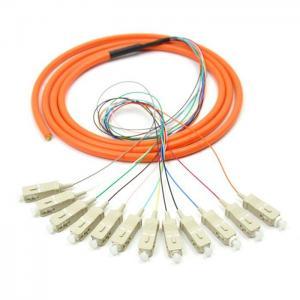 China Orange 12 core SC UPC optical fiber patch cord with CE , multimode fiber patch cord on sale