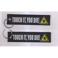 Motorcycle Keychain Touch It, You Die! Fabric Embroidery Motor Key Tag