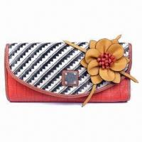 Buy cheap Striped Synthetic Leather Clutch Bag with Twill Flap in Contrast Color and Flower Decoration product