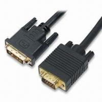 Buy cheap DVI to VGA Cables in Various Lengths, Available with Gold or Nickel-plated Plug product