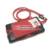 Buy cheap Wholesale Silicone Smart Phone Wallet card holder pouch with lanyard product
