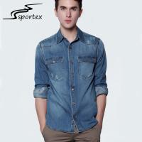 Buy cheap Long Sleeve Mens Washed Denim Shirt Spandex / Cotton Materials Soft Touching product