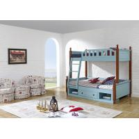 Buy cheap Sky blue painting bunk bed for children bedroom in solid wood frame and MDF plate with storage drawers in apartment furn product