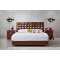 Buy cheap Leather / Fabric Upholstered Headboard Bed for Apartment Bedroom interior fitment by Leisure Furniture with Wooden table product