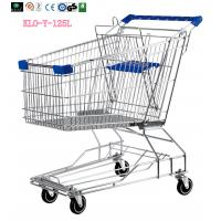 Four Wheel Wire Supermarket Shopping Trolley Zinc Plated 125L / Metal Shopping Carts