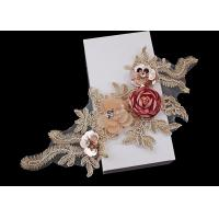 Buy cheap 3D Flower Beaded Lace Embroidered Applique Patches Collar With Sequin Rhinestone product