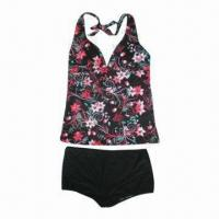 Quality Ladies' Underwear Set with Floral Tankini and Solid Trunk for sale