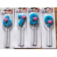 Buy cheap !Child Birthday! Light Blue Number with a little Pink Heart Candles for Birthday Party product