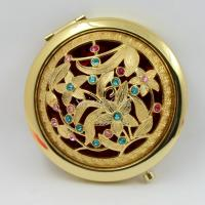 Shinny Gifts Gold Flower Design Portable Handbag Mirror Cosmetic Mirror