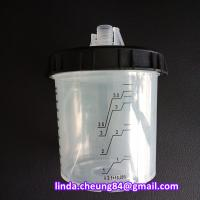 Quality transparent PP spray gun paint mixing cup soft PE material 10oz cup collars/lid for sale