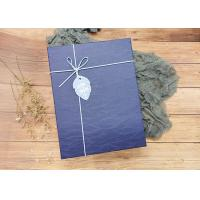 Buy cheap Navy Textured Rectangle Sturdy Cardboard Boxes With Leather Rope For Packaging product