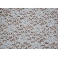 Buy cheap Fashion Brushed White Lace Fabric Flower Shape , Stretchable 135cm Width CY-LQ0042 product