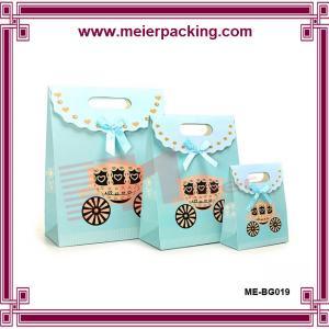China fashionable gift paper bag/Cute Packaging Paper Bags for Gift/Gift Bags Blue Bow Paper Gift Bag ME-BG019 on sale