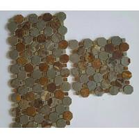 Buy cheap Rust Slate Mosaic Tile Natural Stone Wall Mosaic Mulicolor Slate Stone Mosaic Slate Mosaic Pattern product