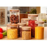 Quality Large Glass Storage Jars With Wood Lid / High Borosilicate Glass Jars for sale