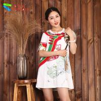 Buy cheap Floral Pattern Sexy Short White Cotton Dress Straight Silhouette For Ladies product