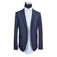Buy cheap Business Tailored Mens Fashion Blazer Jacket Slim Fit Thin Fabric Navy Check Half Lining product
