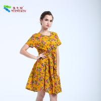 Buy cheap High Waist Style Short Cotton Summer Dresses O Neck Neckline With Pocket product