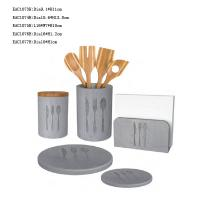 Buy cheap 5 Pcs Concrete Kitchen Accessories Light Grey Cutlery Holder , Dinner Plates product