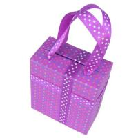 Buy cheap Purple Custom Packing Boxes With Plastic Handle Ribbon for Candy product