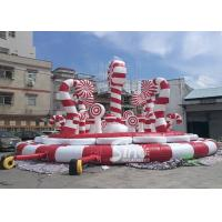 China Giant Christmas Candy Cane Inflatable Amusement Park Bouncer For Kids And Adults Party Fun on sale