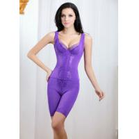 Fresh ! Pure Color Spandex Nylon Body Shaping Underwear with Sleeveless and High Waist Two-piece Set TZ18