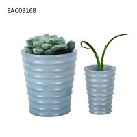 Buy cheap Drainer Screw Thread Blue Concrete Vase Cylinder Decorative Two Size product