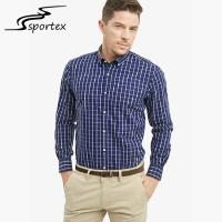Buy cheap Blue Plaid Office Male Formal Shirts Combed Yarn Technics Eco Friendly product