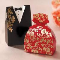Gold Laser Paper Personalized Wedding Party Favor Boxes With Ribbon Pantone Color