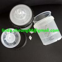 Buy cheap transparent PP spray gun paint mixing cup soft PE material 28oz cup lids with 190micron mesh/stoppers product