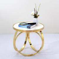 China Unique design stanieless steel frame marble top end table round side table for living room on sale