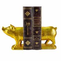 Polyresin Piggy Home Decor Bookends With Gold Gilded Urban Customized Size