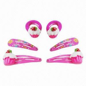 China Fushia color children's hair accessory set in ice-cream shape on sale