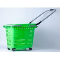 China Stackable 4 Wheels Plastic Shopping Basket / Movable Cloth Shopping Trolley On Wheels on sale