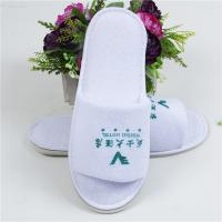 OEM Disposable Hotel Slippers White Open Toe Slippers With Printing Logo