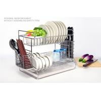 China 2 Tier Easy Install Kitchen Dish Drying Shelf With Removable Drain Board on sale