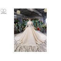 Buy cheap Long Sleeeve Ladies Bridal Gown Special Lace Sequins Fabric Big Long Tail product