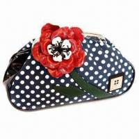 Buy cheap Laminated Polyester Bag with Metal Top Frame and Flower Decoration in Contrast Color product