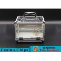Buy cheap 600PCS Double Open Handle Texas Chip Lockable Cash Box / Aluminum Alloy Frame High Transparency Chess Room product