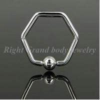China Hexagon 316L Surgical Steel BCR Nose Ball Clourse Rings / Piercing Body Jewelry Hexagon Captive Bead Rings on sale