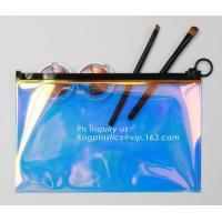 China holographic glitter mini purse transparent clear PVC cosmetic slider bag, slider zipper PVC bag clear vinyl cosmetic bag on sale