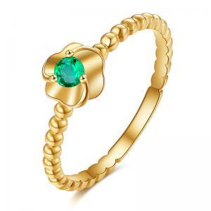 Female Gemstone Gold Jewelry , Flower Emerald Diamond Engagement Rings