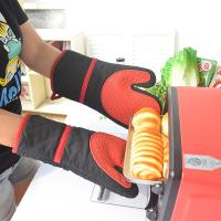Buy cheap Black Cotton Silicone Oven Mitts Heat Resistant Kitchen Gloves product