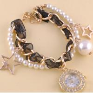 Buy cheap Fashion Women Faux Pearl Chain Bracelet Geneva Flower Watch Star Pendant With Silk Ribbon product