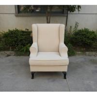 french style wooden frame single sofa/linen fabric wing back hotel armchair