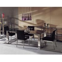 Buy cheap Italian Marble Dining Tables , Modern Black Glass Dining Table Set product