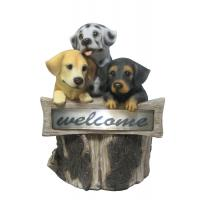 China Hand Cast 3 Puppies Welcome Garden Solar Light for Backyard OEM Acceptable on sale